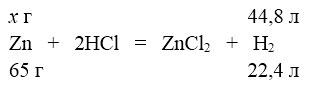 Цинк з хлоридною кислотою з утворенням водню